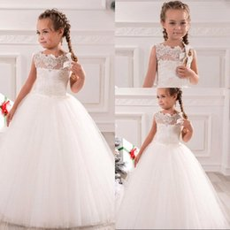 Wholesale Cute Blue Wedding Dresses - White Ivory First Communion Dresses Cute Little Girls pageant Dresses Tulle Ball Gown Floor Length Flower Girls Dresses
