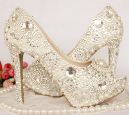 Wholesale Bride Peep Toe Shoes - Peep Toe Rhinestone Wedding Shoes Crystal Ivory Pearl Bride Shoes Custom Made Women High Heel Platform Brithday Party Prom Shoes