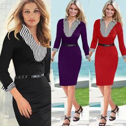 Wholesale Career Sheath Dress - 2017 New Fashion OL Women Turn-down Collar Neck Three Quarter Sleeve Sheath Shift Party Cocktail Patchwork Career Dress 3219#