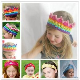Wholesale Hand Crochet Baby - Baby hand-made crocheted Crown headband girls knitted Rainbow hair band rhinstone knitting princess crown headband kids Photography props B1