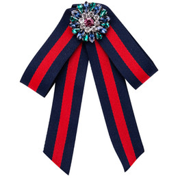 Wholesale Vintage Round Brooches - 2017 New Collar Bow Tie Vintage Long Ribbon Tassel Woman Big Bowknot Wedding Shirts Accessories Fashion Jewelry Brooches Pins