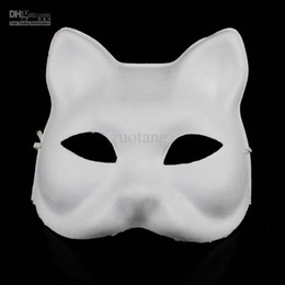 Wholesale White Pulp Mask - DIY Blank Unpainted Cat Masks Plain White Environmental Paper Pulp Masquerade Half Mask Hand Painting Fine Art Programs