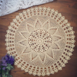 Wholesale Round Crochet Tablecloth - Wholesale- yazi Handmade Round Table Placemat Cotton Hollow Floral Doily Pads Crochet Table Mat Table Cover Tablecloths Home Decor
