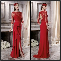Wholesale Ready Made Gowns - 2016 New Designer Red Evening Dresses Lace Open Back Bride Dresses Mother of Ready The to Wear 3 4 Long Sleeve Ruffle Sexy Split Women Gowns