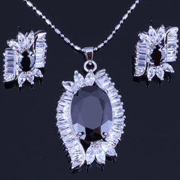 Wholesale Sapphire Leaf Necklace - Luxury Leaf Style Black Sapphire Cubic Zirconia for Women's 18K White Gold Plated Earrings Pendant Necklace Jewelry Sets Free Gift Bag H0070