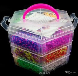 Wholesale Loom Band Rubbers - Pagoda Kits Clasps Beads Charms  Hook 3 layer Box DIY Loom Bands Refills Kid Make rubber Bands Elastics Gum Bracelets