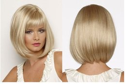 Wholesale Blonde Bob Wigs - Popular Star Style New Arrrival Blonde Hair Long Straight SyntheticWigs Full Wigs Fashion Natrural Wig Bob Style