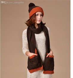 Wholesale Korea Gloves Style - Wholesale-Winter Fashion Scarf for Woman Knitted scarfs hat set Pocket design brand scarfs shawls korea style girl scarves long 200cm HOT