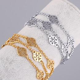 Decorações de casamento on-line-Top latão e marca pulseira com oco redondo decora em 18.5 cm de comprimento três camadas cadeia conectar para mulheres e homem presente de casamento jew