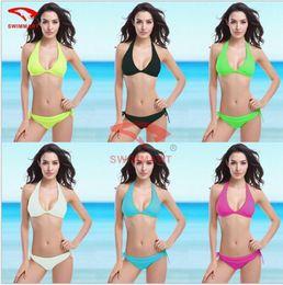 Wholesale Pink Bikini Top Push Up - Women's Summer Sexy Triangle Top Bikini Set Women Swimsuit Swimwear Bathing Suit Push up Padded Bikini 6 Colour V001