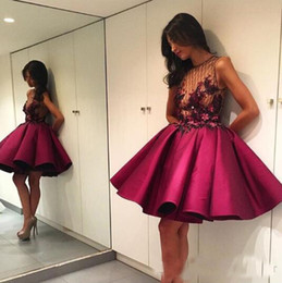 Wholesale Sexy Size 18 Dresses - 2018 Cocktail Dresses Handmade Flowers Ruffles Short Prom Gowns Formal Party Wear Masquerade 18 Sweet Homecoming