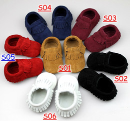 Wholesale Child Moccasins - baby suede Baby Moccasins Soft Scrub Walkers Children Babies Boys Girls Scrub First Walker Shoes Toddle Shoes Kids Prewalker 12pc=6pairs