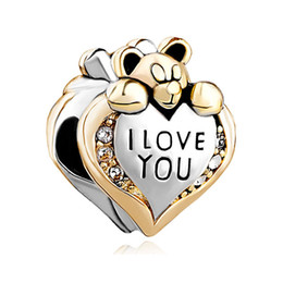 Wholesale Spacer Bead Charms - Fashion women jewelry bracelet Valentines Day I love you heart bear spacer beads large hole charms for beaded bracelets