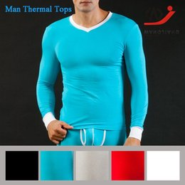 Wholesale Thermal Clothing China - WJ Tights Men Slim Long Johns long Sleeve Slim and Sex Men Thermal Underwear O-neck Nightwear Cheap Clothes China Warm Jacket W3002-SY