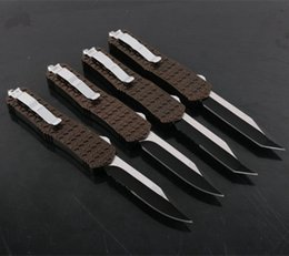 Wholesale Oem Browning Folding Hunting Knife - OEM 6 MODELS mict Troodon C1 brown double action Hunting Folding Pocket Knife Survival Knife Xmas gift for men 1pcs