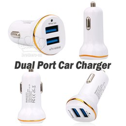 Wholesale Usd Cars - USD Dual Port Car Charger 2A with Gold Line for iPhone 5 6 7 8 X Samsung S7 S8 Note 8