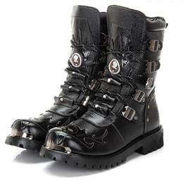 Wholesale Punk Boots Men - Army Boots Men Military Boots Genuine Leather Winter Black Cow Split Metal Gothic Punk Boots Male Shoes Motorcycle Botas Hombre
