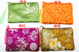 Wholesale Chinese Small Party Gifts - Cotton filled Thick Zip Bags Small Fabric Gift Pouch Packaging Bag Party Favor Bags Tassel Silk Satin Women Fashion Purse Cell Phone Wallet