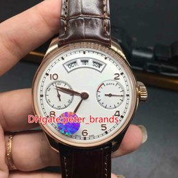 Wholesale Roses Calendars - Top grade 47mm automatic wristwatch rose gold case brown leather strap glass back cover year date and day full work Perpetual calendar watch