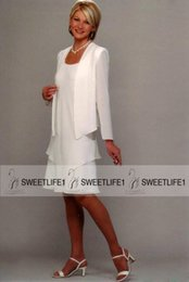 Wholesale Cheap Knee Length Sheath Dresses - Sheath Mini Ivory White Chiffon Mother of the Groom Dresses Chiffon Cheap 2016 Long Sleeves Short Party Evening Gowns for Mothers Scoop Neck