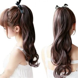 Wholesale Curly Ponytail Black Hair - Hair ponytail wig Lady Curly Claw in Ponytail wigs Ribbon Pony Tail black dark brown light brown Synthetic Long Ponytail