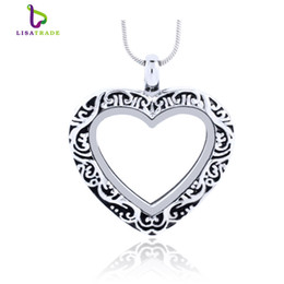 Wholesale Glasses Chains China - Silver Heart magnetic glass floating charm locket Zinc Alloy 27.5x27mm (chains included for free)LSFL07-1
