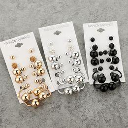 Wholesale Drilled Ear Cuffs - Popular Personality Circle Metal Ball Ball Type U Double Drill Xiangbala Earrings Set