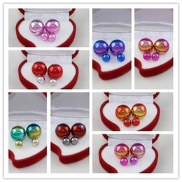 Wholesale Coloured Earrings - New Fashion Hot Sale Earrings Double Side Shining Pearl Stud Earrings Big Pearl Earrings with small crystal Lovely candy colours gift
