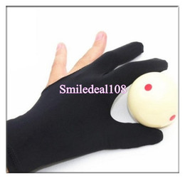 Wholesale Snooker Cue Wholesalers - Black Three Finger Snooker Billiard Pool Shooters Cue Gloves Stretchable Lycra Professional Fit Left Right Hand Glove Billiard Accessories
