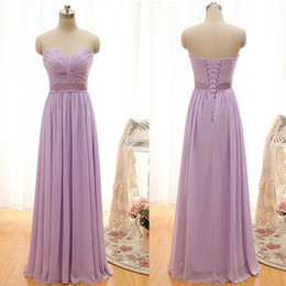 Wholesale Evening Gowns Sweet Heart - 2016 New Bridesmaid Dresses Evening Formal Gown With A Line Sweet-heart Lilac Chiffon Cheap Lace Up Back Pleats Sash Long Custom Made