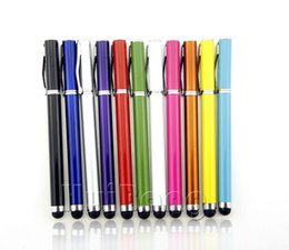 Wholesale Mini Styles Pen Iphone - Wholesale-Business Style Mini Metal Capacitive Screen Stylus Pen Pens Touch Pen 11 Colors For Ipad Iphone Tablet PC Cellphone 100pcs P25