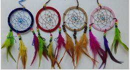 Wholesale Green Feng Shui - 18%OFF 9cm Indian ornaments. Colored feathers Dreamcatcher. Household pendant. Feng Shui Car hanging dream catcher decor.50PCS  ZM