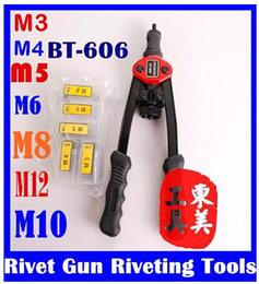 Wholesale Riveter Tool - Hand Riveter Rivet tool Riveting Tools With Nut Setting System M3 M4 M5 M6 M8 M10 M12 BT-606 original free shipping
