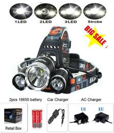 Wholesale Led Big Headlight - shipping by DHL BIG SALE!Headlight Headlamp +2*18650 battery +Charger, 3xCREE XML T6R5 LED Headlight LED Head lamp