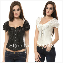 Wholesale Full Steel Bone Corset - Wholesale-Free Shipping! Full Spiral steel boned Lace up back brocade Corset tops with shoulder strap ,S-2XL A1216