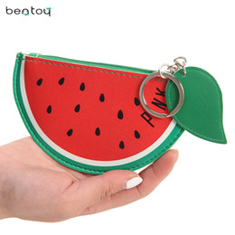 Wholesale Leather Womens Pouch Wallet - Wholesale- Cute Womens Wallets And Purses Fruit Coin Purse For Childern Leather Change Purse Pineapple Watermelon Bag Small Money Pouch
