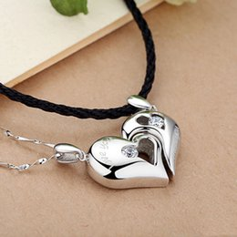 Wholesale Sterling Necklace Clasp - 925 Sterling Silver Heart Necklace Pendant Heart Love Korean retro jewelry lady Valentine's Day gift to send his girlfriend a gift