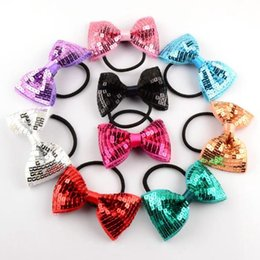Wholesale Hair Rubber Band Baby - 2016 Baby girls Sequin Bow Hairbands Children's hair band hair accessories hair rope girls sequined bow tie butterfly tie hair rubber band