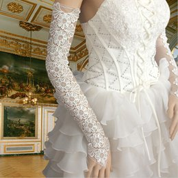 Wholesale Long Lace Fingerless Gloves - Long Design Gloves Bandage Fingerless Rhinestone Wedding Gloves 50cm