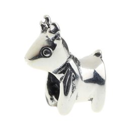 Wholesale Deer Charm Sterling - Beads Hunter Jewelry Authentic solid 925 Sterling Silver Wild Deer Charm fashion big hole bead For 3mm European Bracelet snake chain