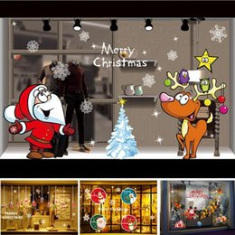 Wholesale Shop Window Christmas Decorations - Christmas decorations window stickers DIY Electrostatic Sticker Home Decorative Stickers Home Shop Hotel Decor 15 Styles Optional YW255