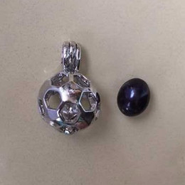 Wholesale Genuine Black Pearl Pendant - Football Cage Lockets with 7-8mm Genuine Freshwater Pearl Pendant, 18kgp Wish Pearl Pendant - Football Boy DIY Charms