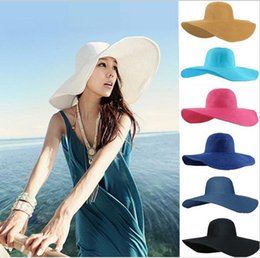 Wholesale Cheap Straw Summer Hats - 2015 Fashion Summer WomensLadies Foldable Wide Large Brim Floppy Beach Hat Sun Straw Hat Cap for Women 16 colors cheap factory price W479