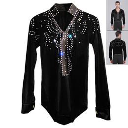 Wholesale Dancewear Latin Dress - 2015 Men Boy Latin Dance Dress Ballroom Dance Tops High-Grade Velvet Drill Latin Dance Shirt Long Sleeve Dancewear Shirts DQ6031