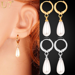 Wholesale Pearl Clip Dangle Earrings - Real 18K Gold Plated Water Drop Pearl Beads Clip Earrings High Quality Fashion Jewelry For Women Wholesale Lots YE1286