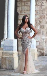 Wholesale mermaid prom dress beaded bodice - Said Mhamad Sweetheart Rhinestone Mermaid Prom Dresses 2016 Sexy Sheer Beaded Bodice Split Evening Dresses Pageant Party Gowns BA1959