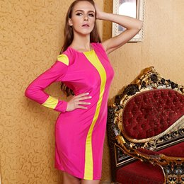 Wholesale Tight Single Sleeve - 2016 Women Dress Rose Swimsuit cloth Single Sleeve Tight Cultivate One's Morality Perspective Street Style 2015 Christmas Party Evening Wear