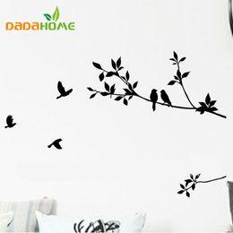 adesivos de parede de vinil pássaros de árvore negra Desconto Diy removível mural adesivo de parede decalques arte decoração ramo árvore e pássaros arte vinil preto padrão clássico