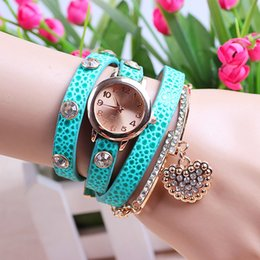 Wholesale long leather watch straps women - Fashion 9 Colors Ladies Sweet Heart pendant Crystal Diamond Rhinestone long leather strap watches Women Dress Quartz Analog Wristwatch