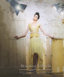 Wholesale Dress Back Appeal - Appealing High Low Arabic Prom Dresses 2015 With Scoop Neck Beaded Yellow Chiffon Short Front Long Back Myriam Fares Party Evening Dress